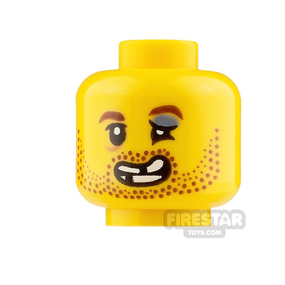 LEGO Mini Figure Heads Brown Stubble and Missing Teeth