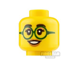 LEGO Mini Figure Heads Grin with Glasses and Smile