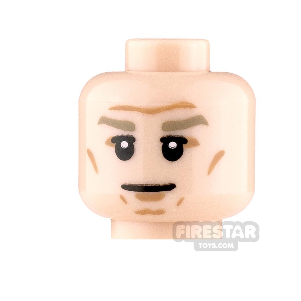 LEGO Mini Figure Heads Stern with Dark Tan Eyebrows