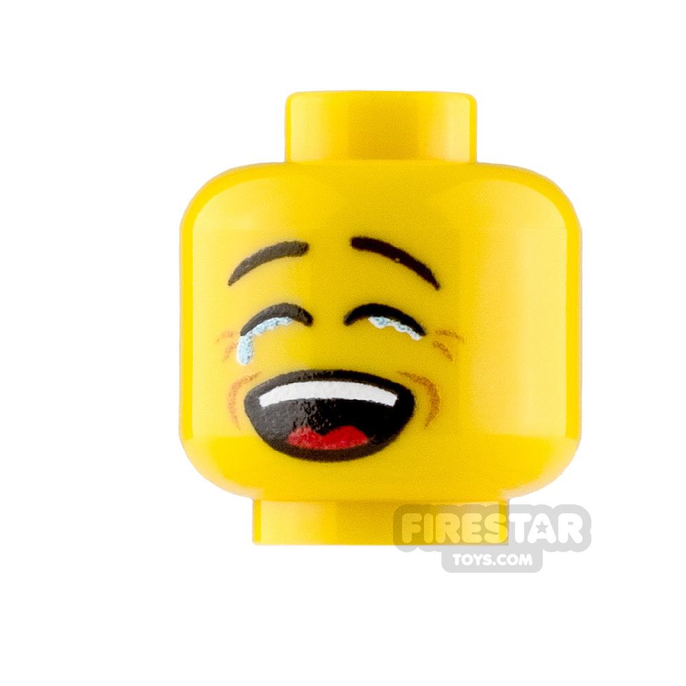 Custom Minifigure Heads Tearful Laugh Male