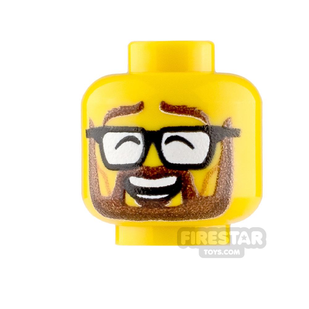 Custom Minifigure Heads Bearded Laugh Male