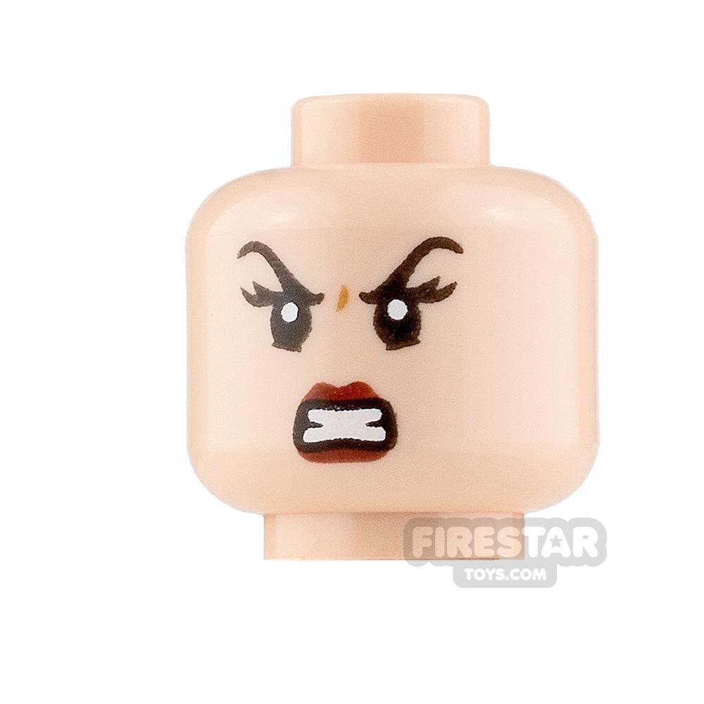 LEGO Minifigure Heads Dark Red Lips Smirk and Scowl