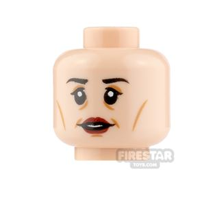 LEGO Minifigure Heads Dark Red Lips Smile and Worried