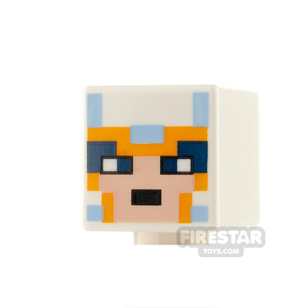 LEGO Minifigure Heads Minecraft Light Blue and Orange