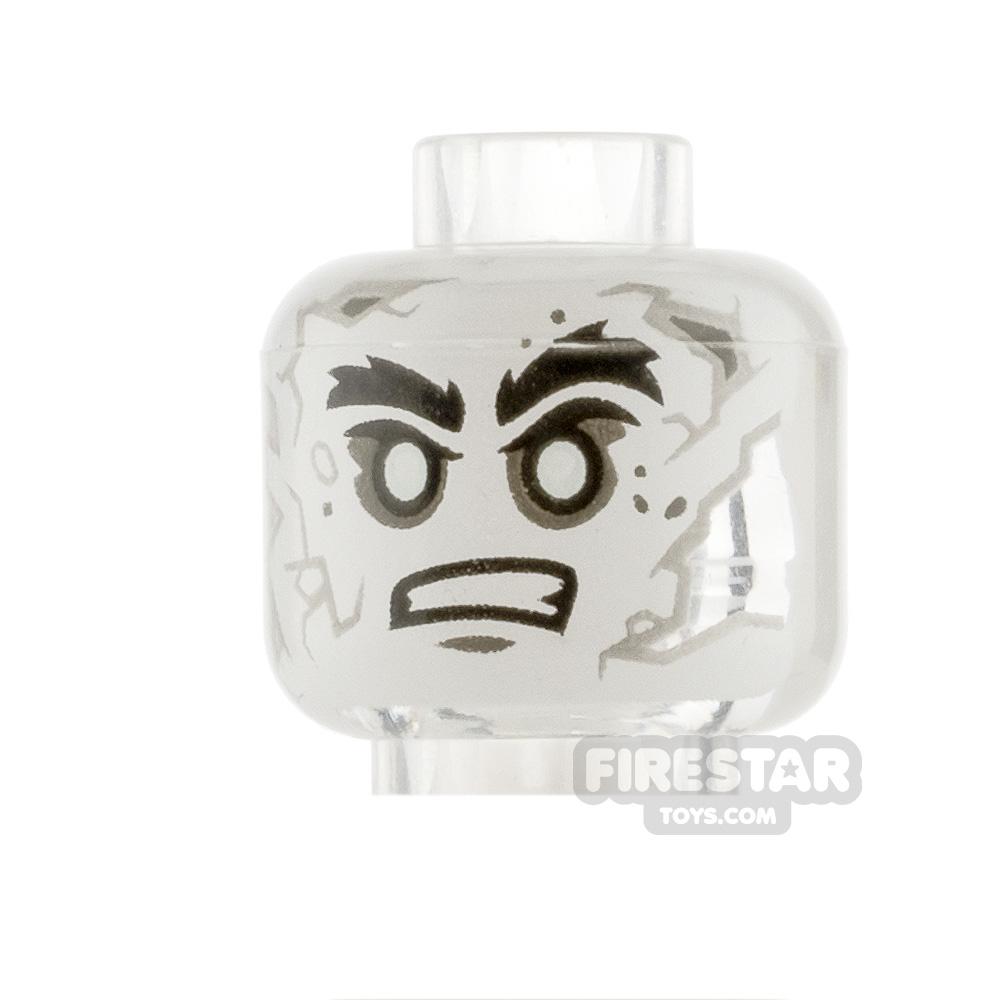 LEGO Mini Figure Heads White Face with Gray Cracks