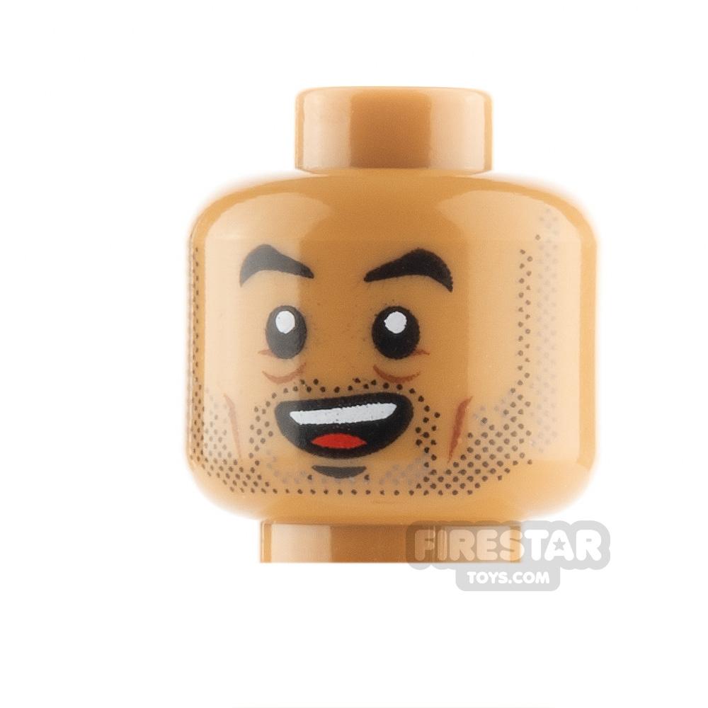 LEGO Minifigure Heads Stubble Raised Eyebrow and Open Smile