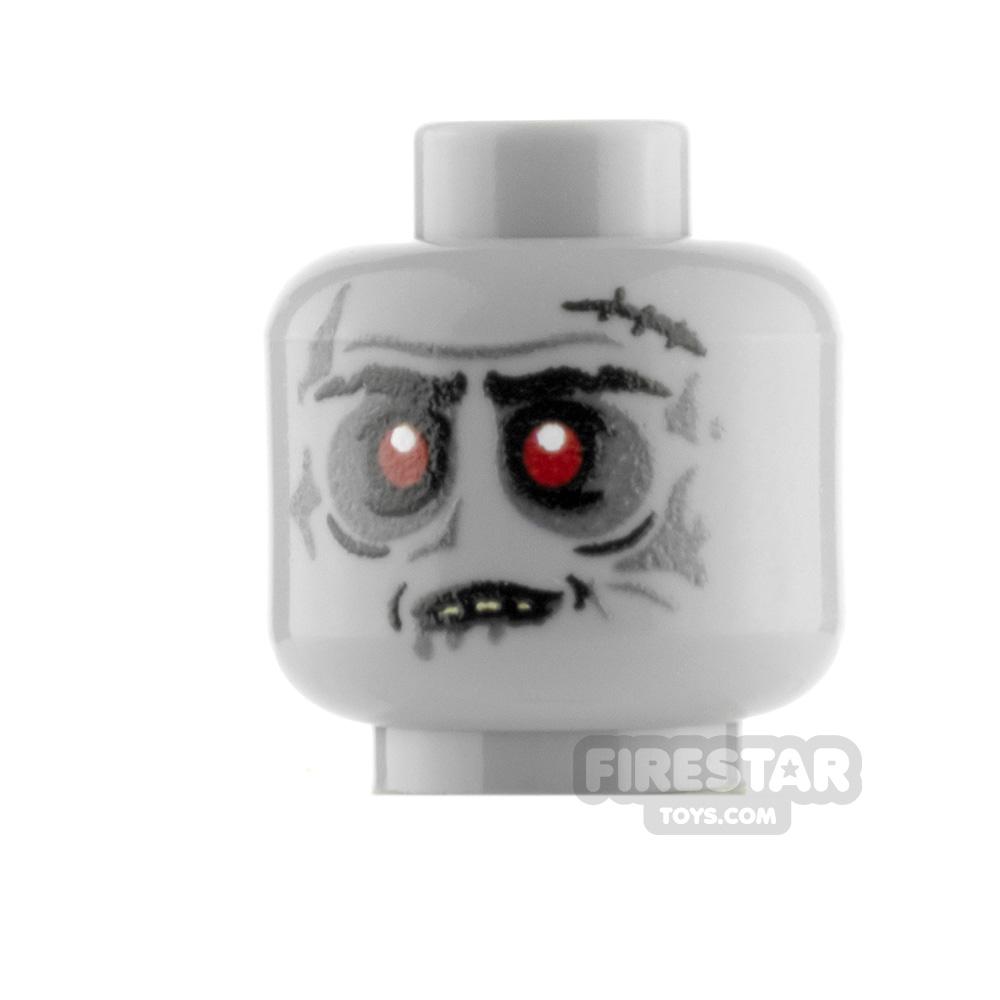 Custom Minifigure Heads Scowling Zombie