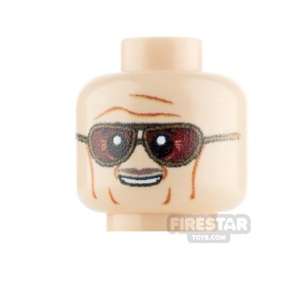 Custom Minifigure Heads Tinted Sunglasses and Moustache