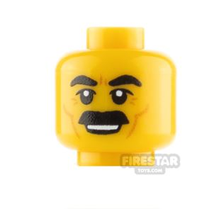 Custom Minifigure Heads Thick Moustache and Grin