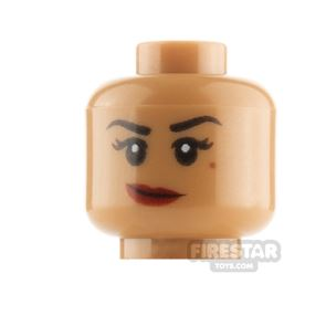 LEGO Minifigure Heads Red Lips Lopsided Smile and Fierce