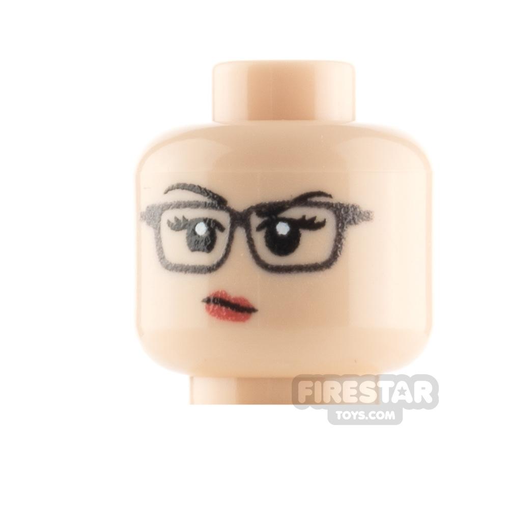 Custom Minifigure Heads Annoyed Female with Glasses