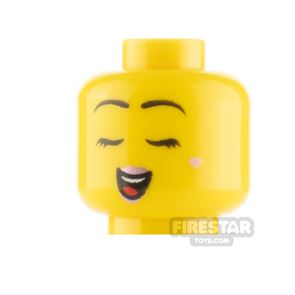 LEGO Minifigure Heads Pink Lips Smile and Closed Eyes