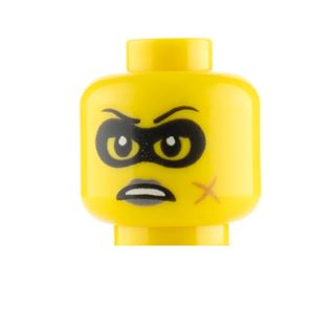 LEGO Minifigure Heads Black Eye Mask and Scar