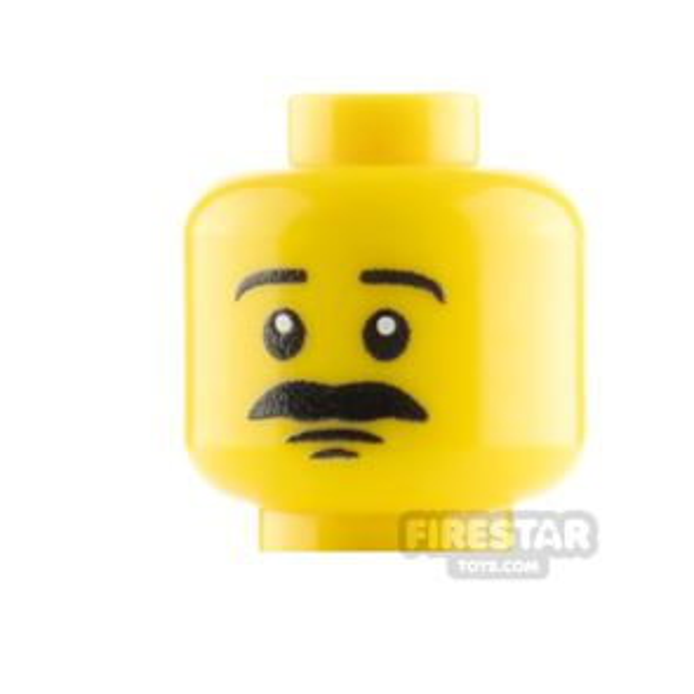 Custom Minifigure Head Serious with Moustache