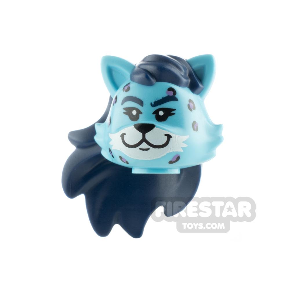 LEGO Minifigure Head Cat with Dark Blue Hair