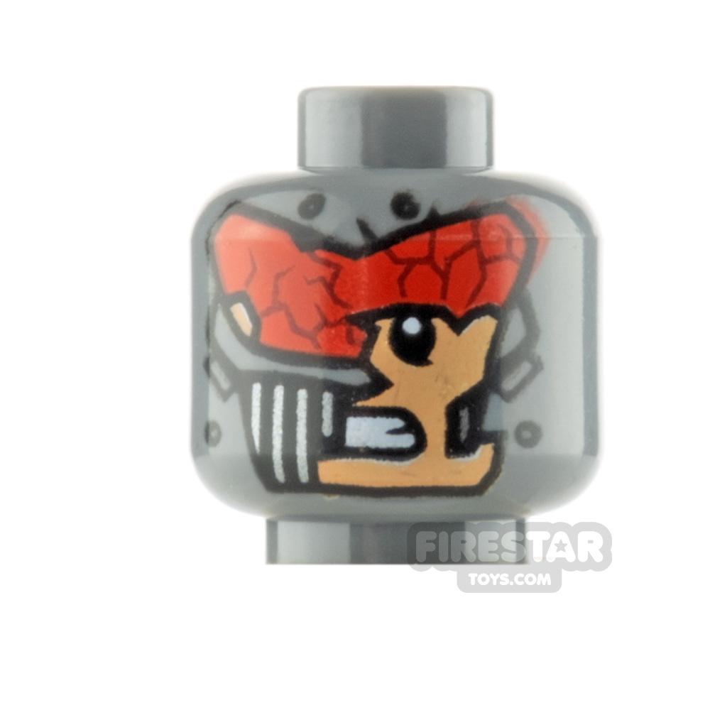 LEGO Minifigure Head Red Visor and Broken Mask