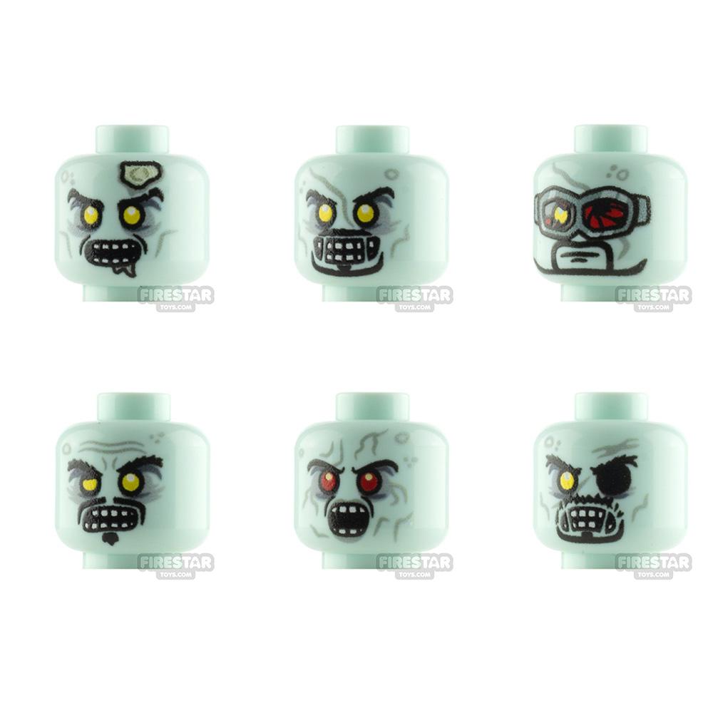 Custom Minifigure Heads Superheroes Zombie 6 Pack