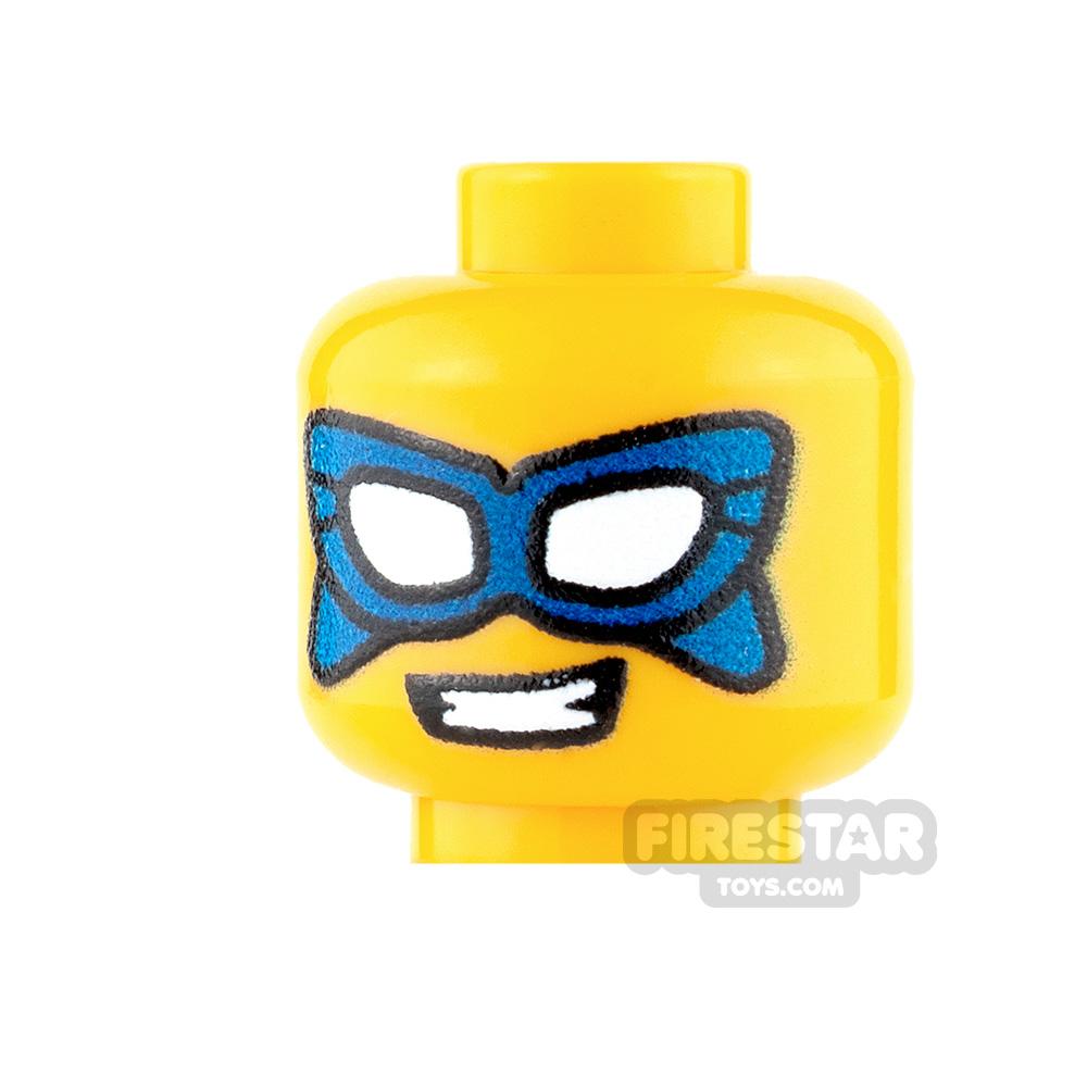 Custom Mini Figure Heads - Male Super Hero - Blue Mask