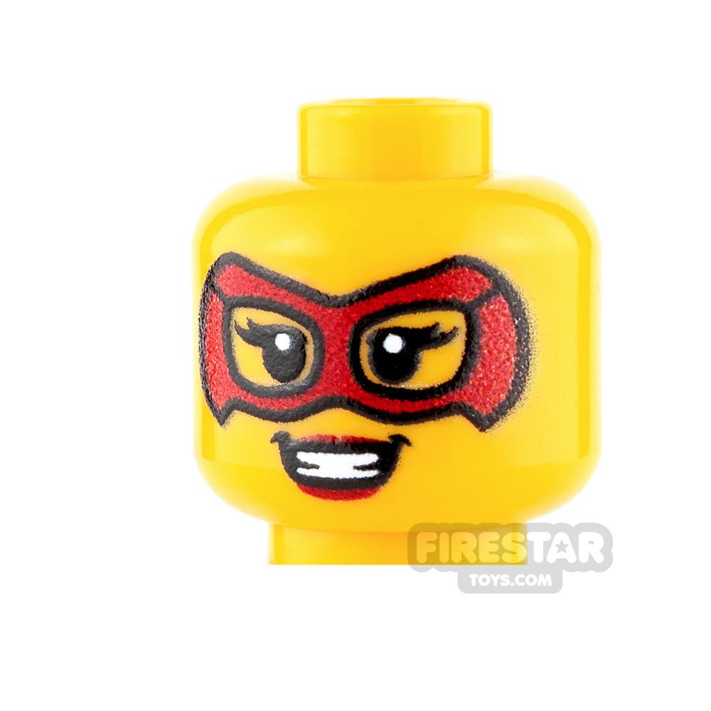 Custom Minifigure Heads Female Super Hero Red Mask