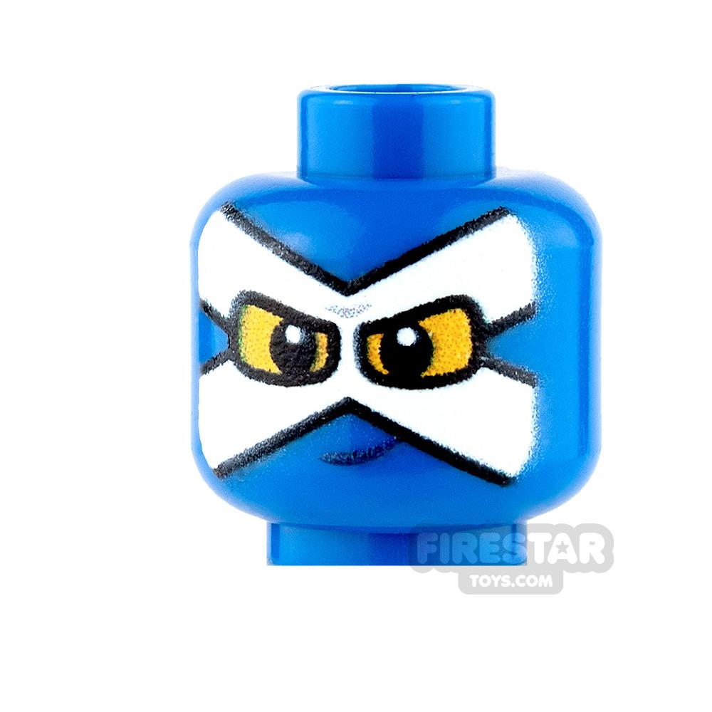 Custom Mini Figure Heads - Super Hero - Blue with White Mask