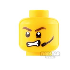 Custom Minifigure Heads - Male with Headset and Angry