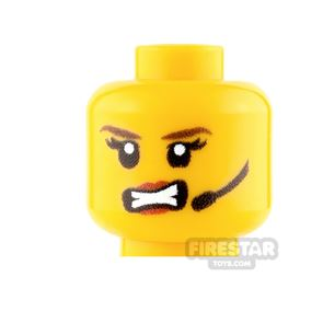 Custom Minifigure Heads - Female with Headset and Angry