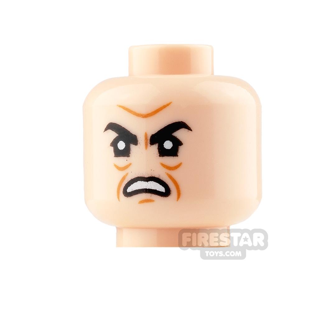 LEGO Mini Figure Heads - Sneer with Raised Eyebrow and Scowl
