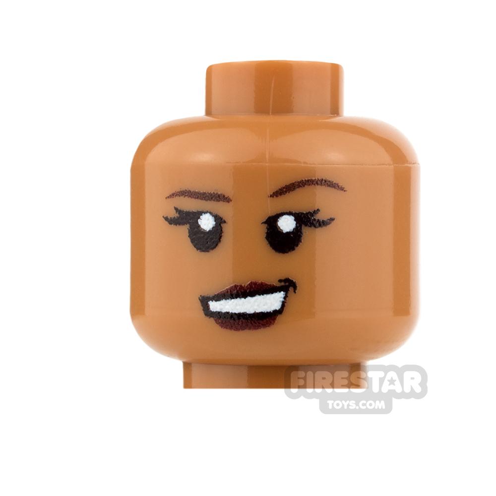 Custom Minifigure Heads - Grin - Female - Medium Dark Flesh