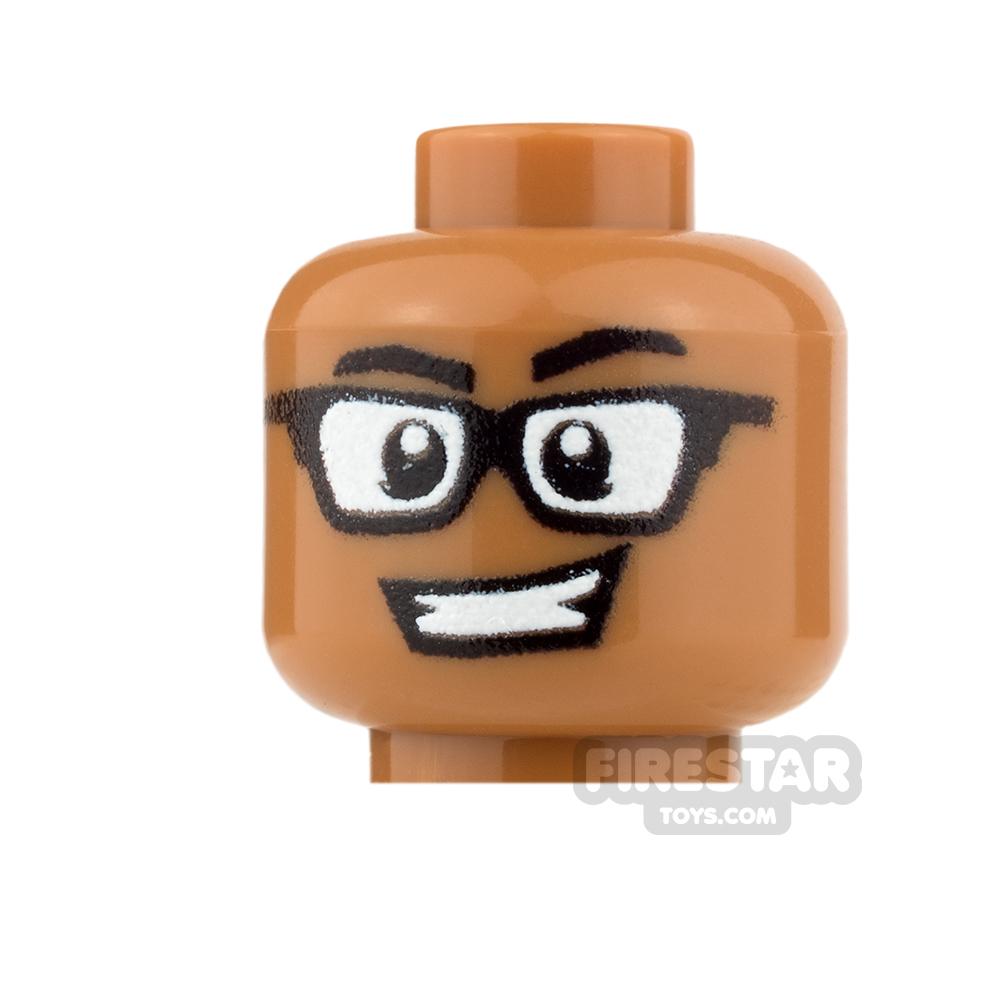 Custom Minifigure Heads - Grin with Glasses - Male - Medium Dark Flesh