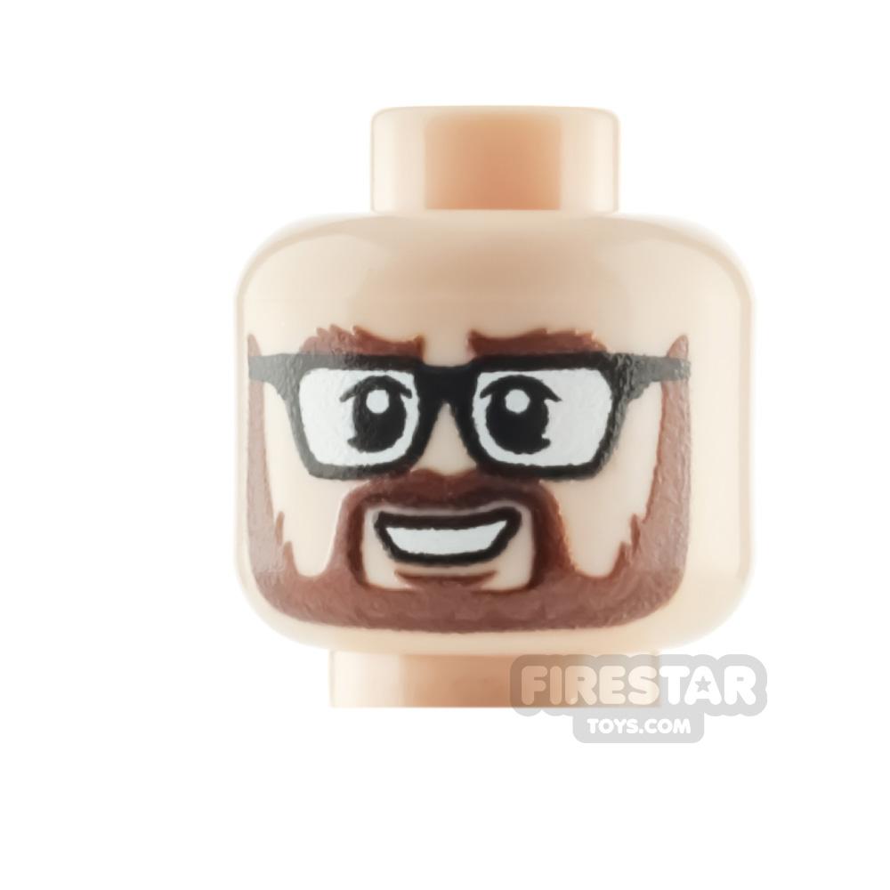 Custom Minifigure Heads Grin with Glasses Male