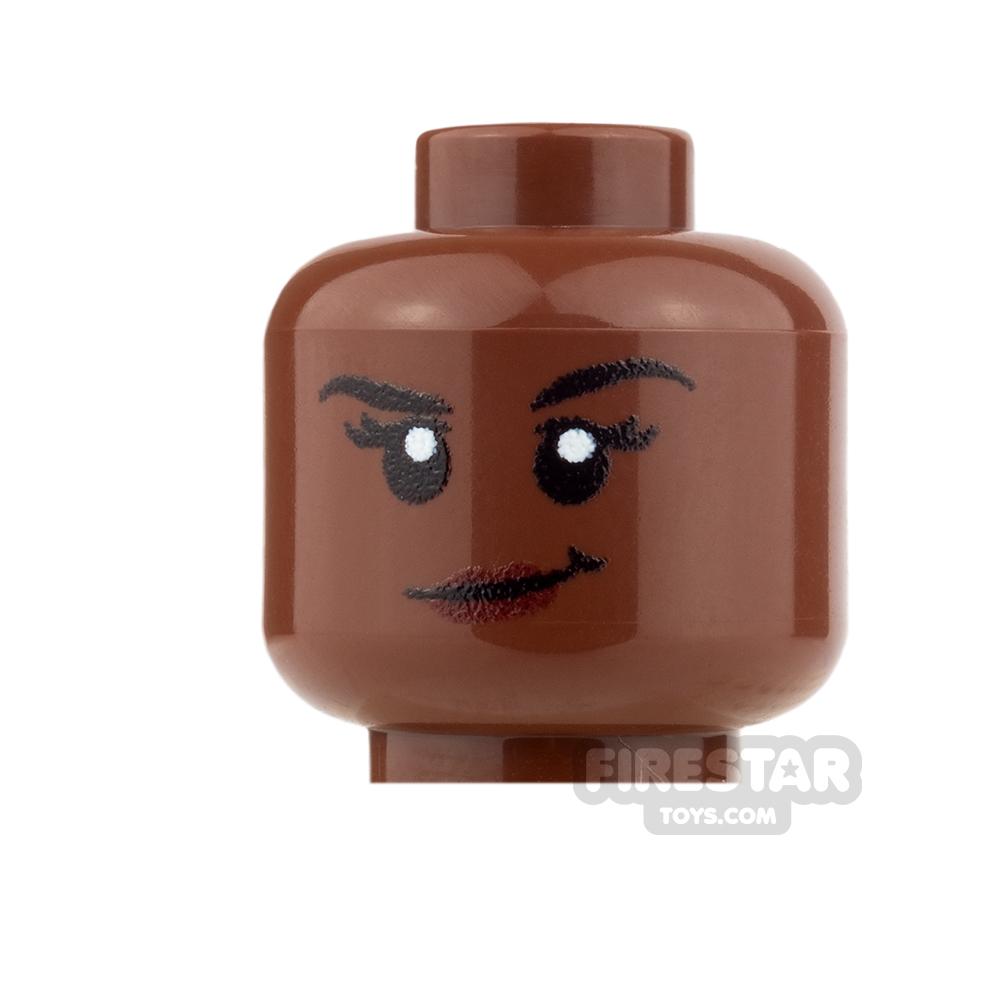 Custom Minifigure Heads - Smirk - Female - Reddish Brown
