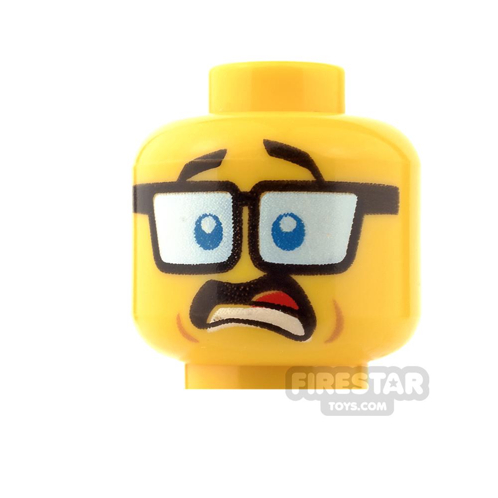 LEGO Mini Figure Heads - Tinted Glasses - Shocked/Smile