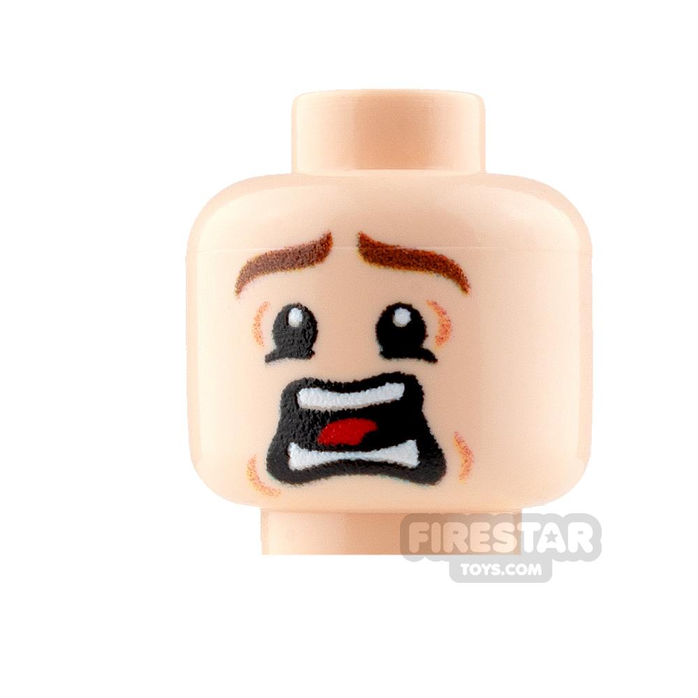Custom Mini Figure Heads - Terrified - Male - Light Flesh