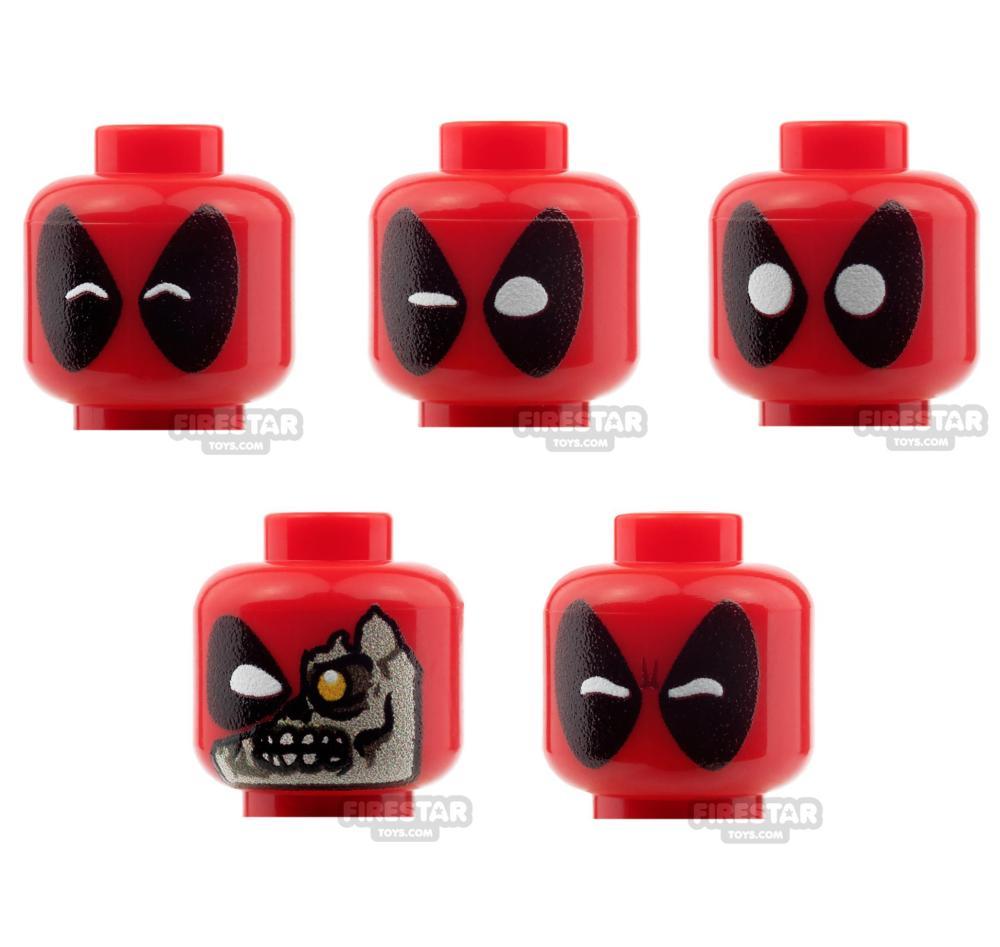 Custom Mini Figure Heads - Deadpool - 5 Head Set