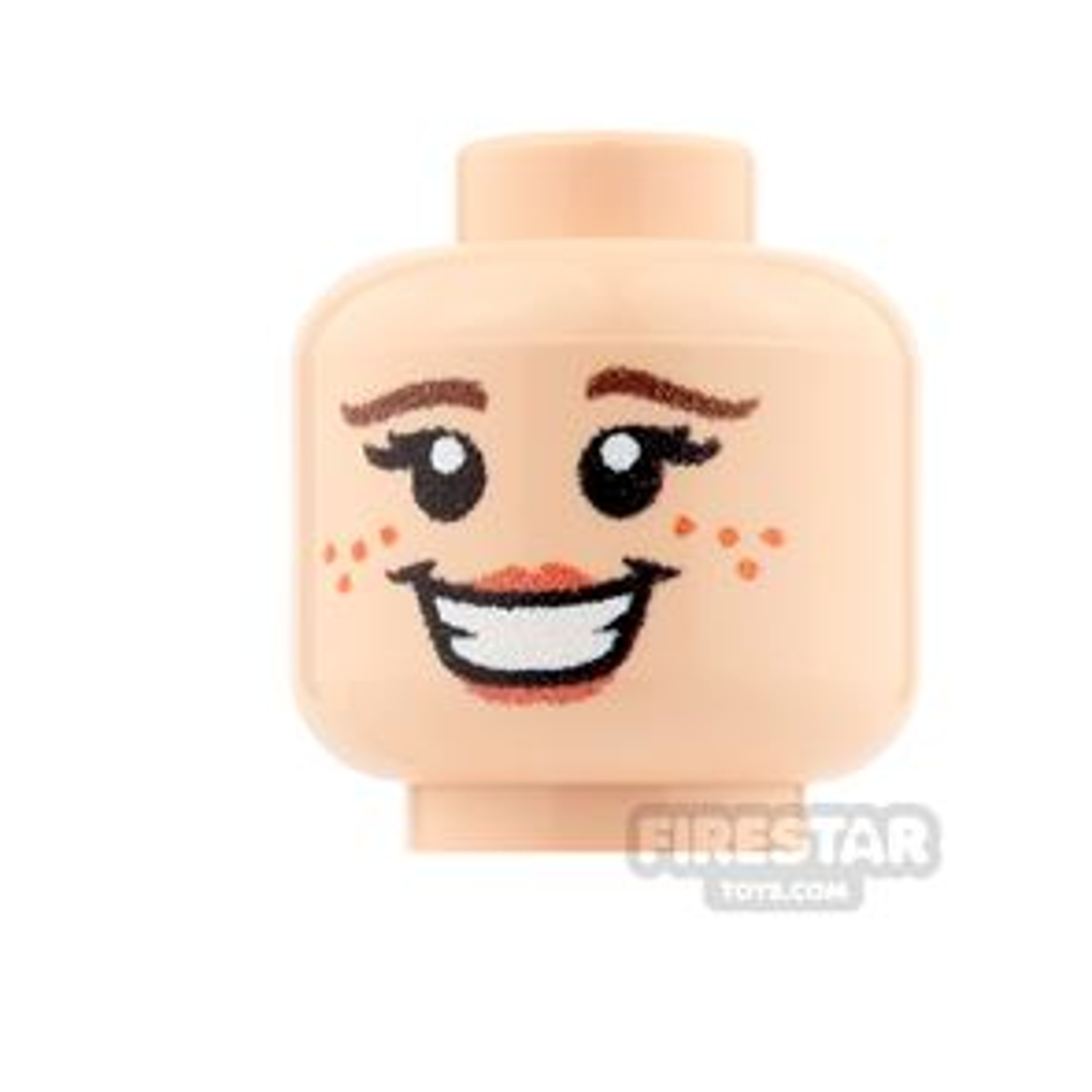 Custom Minifigure Heads - Big Smile Girl - Light Flesh