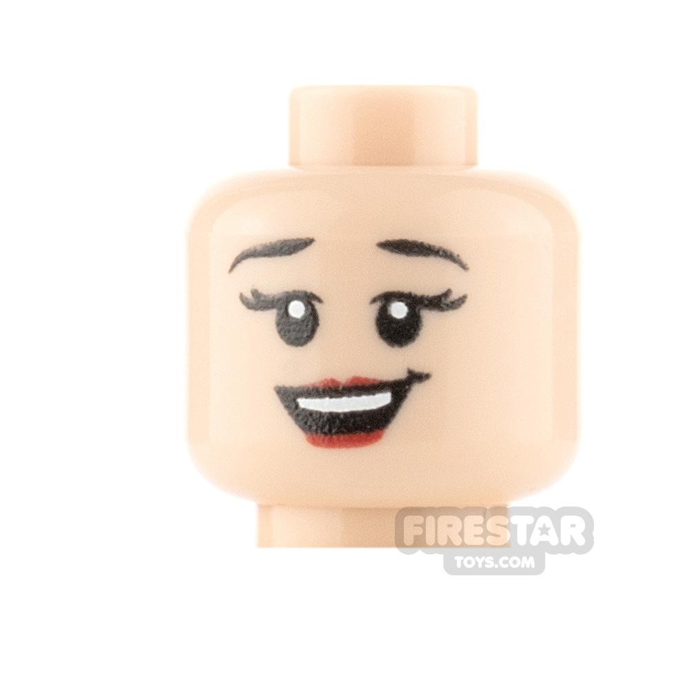 Custom Minifigure Heads - Big Grin Girl - Light Flesh