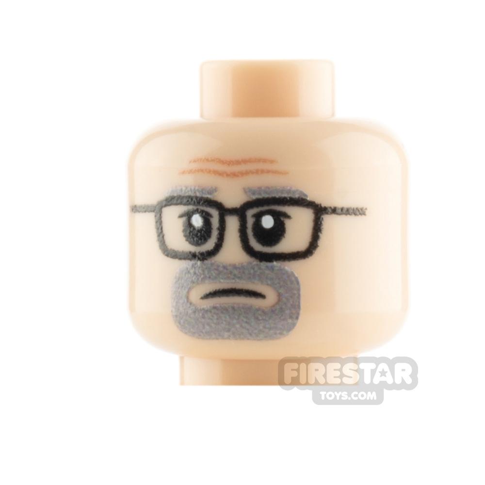 Custom Minifigure Heads - Gray Goatee and Glasses -  Light Flesh