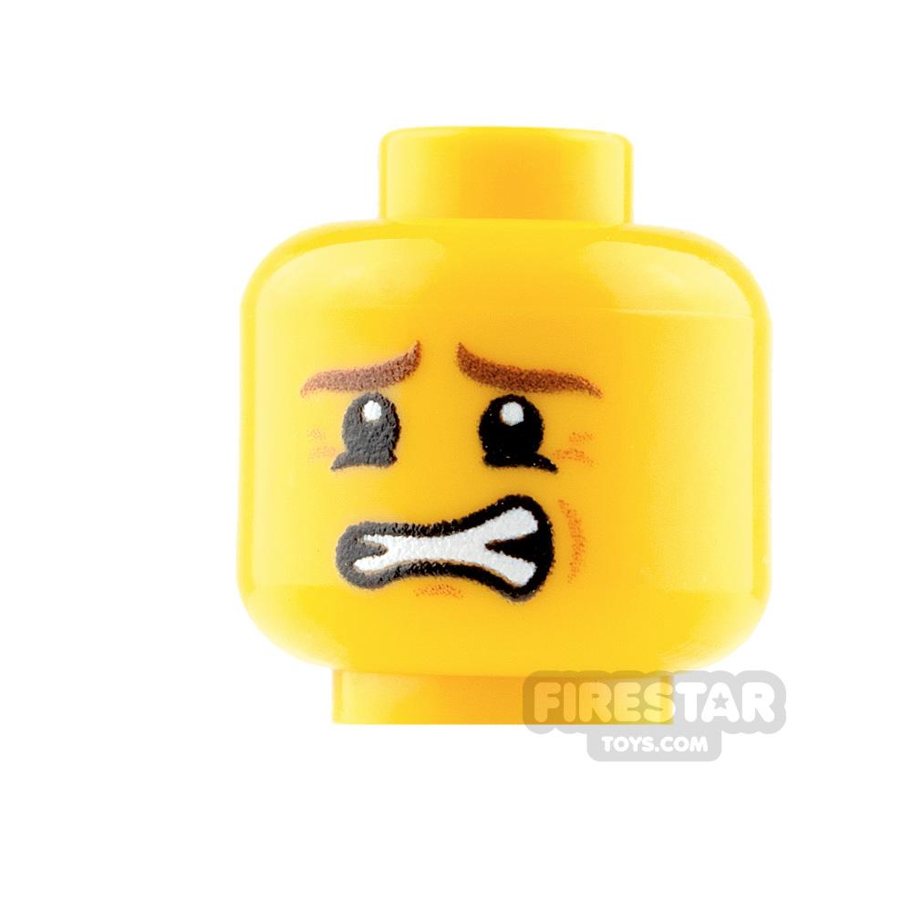 Custom Mini Figure Heads - Nervous - Male - Yellow