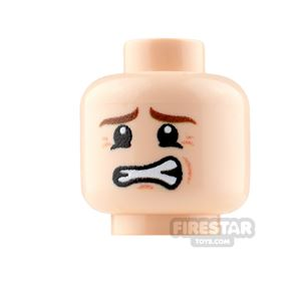 Custom Mini Figure Heads - Nervous - Male - Light Flesh