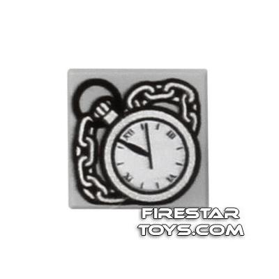 Printed Tile 1x1 - Pocket Watch