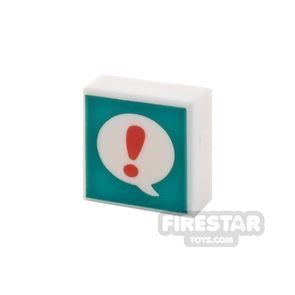 Printed Tile 1x1 Speech Bubble and Exclamation Mark