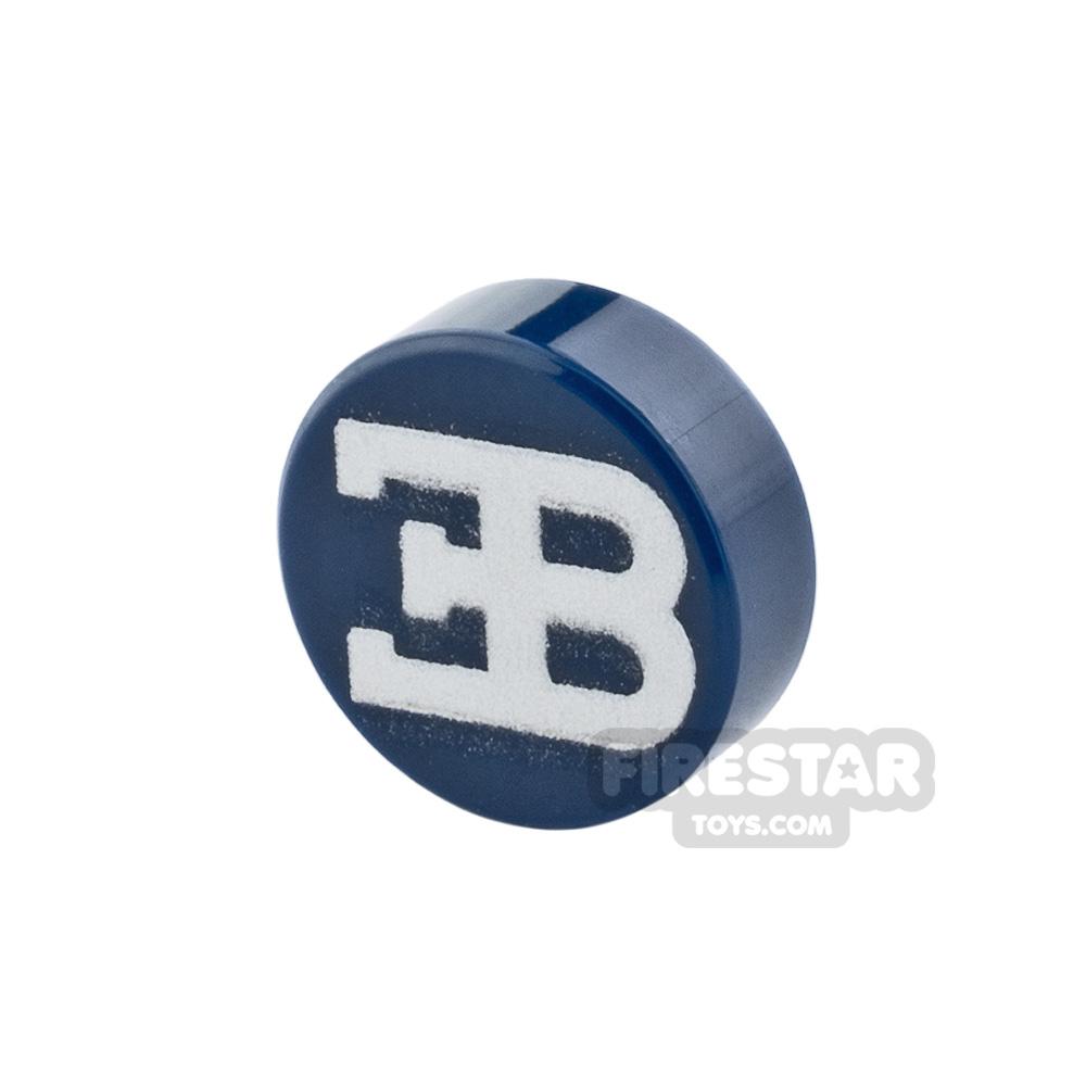 Printed Round Tile 1x1 Bugatti Logo