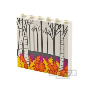 Printed Panel 1x6x5 with Side Supports Forest and Leaves