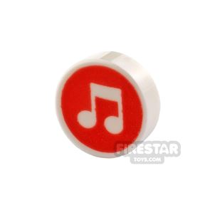 Printed Round Tile 1x1 Music Note