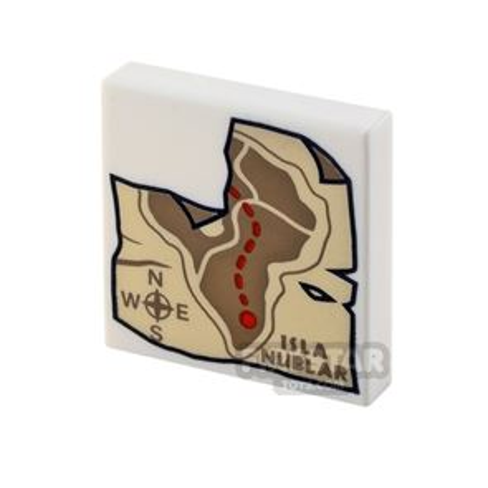 Printed Tile 2x2 Map of Isla Nublar