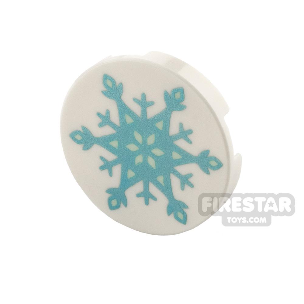 Printed Round Tile 2x2 Snowflake