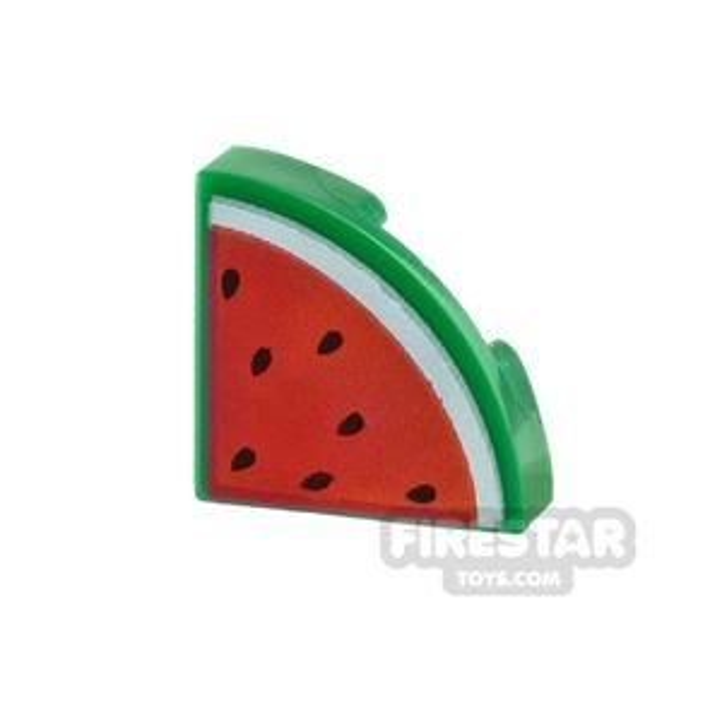Round Quarter Tile 1x1 Watermelon Slice