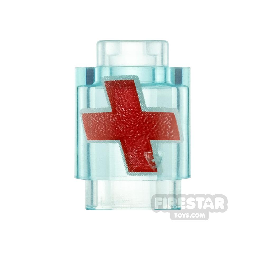 Printed Round Brick 1x1 Red Cross