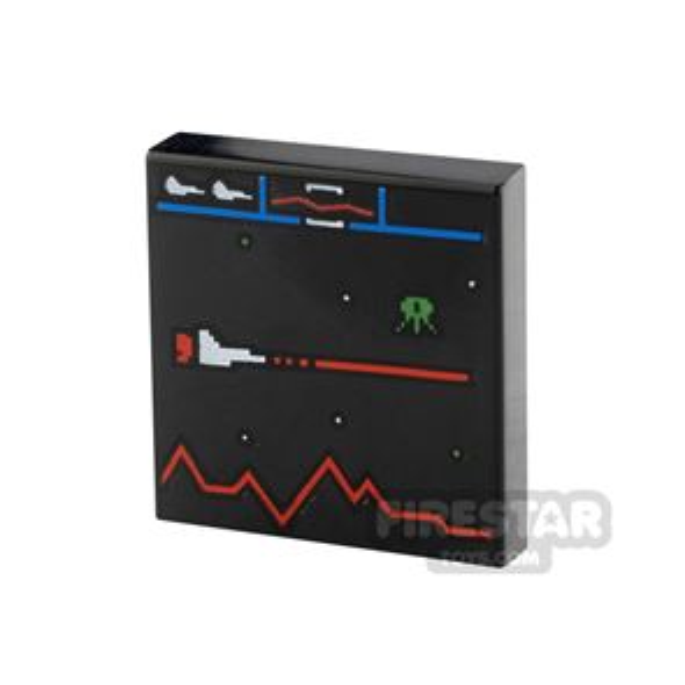 Printed Tile 2x2 Defender Video Game Display