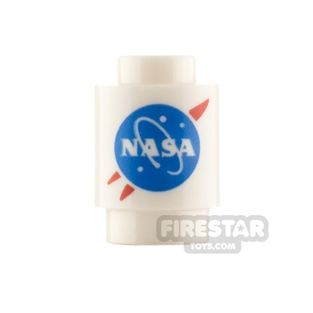 Printed Round Brick 1x1 NASA Logo